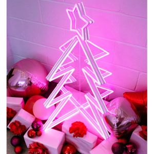 3D Neon Christmas Tree shown with presents and a Santa Baby neon sign - photo from CustomNeon.com