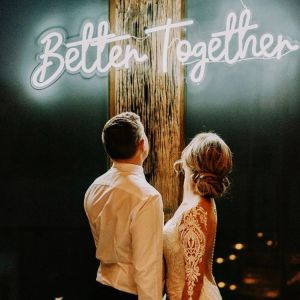 Better Together wedding decor sign with bride and groom - photo from CustomNeon.com