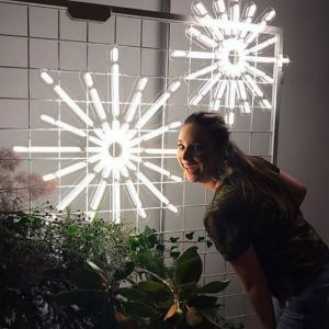 Christmas Star LED Neon Light shown on a frame with seasonal florals - photo from CustomNeon.com