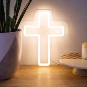 Neon Cross Sign photo in white