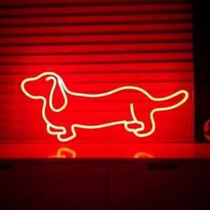 Dachshund LED Neon Art shown in red on a shelf - photo from CustomNeon.com