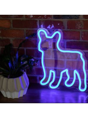 LED Neon Art - French Bulldog shown here in blue against an exposed brick wall