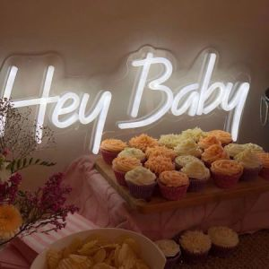 Hey Baby Neon Sign for Baby Showers, Sip n See & Welcome Baby Parties - photo from CustomNeon.com