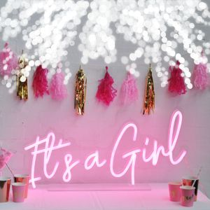 * It's a Girl * Pink Neon Sign for Welcome Baby / Sip & See Parties - photos from CustomNeon.com