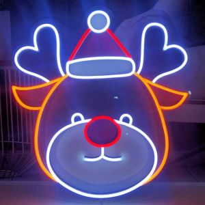 UV printed LED reindeer shown illuminated (turned on) - photo from CustomNeon.com