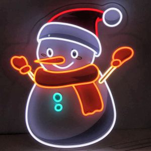 UV Printed Neon Snowman shown illuminated - photo from CustomNeon.com