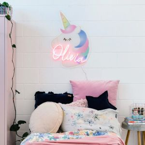 Unicorn LED Neon Name Sign for Kids Room from CustomNeon.com