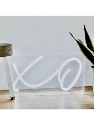 * XO * Aesthetic Neon Standalone Light in Acrylic Box shown resting on the floor - photo from CustomNeon.com